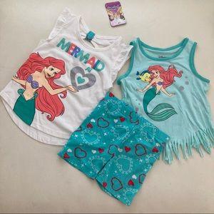 Disney Ariel Mermaid 🧜♀️ 3pc shorts set 2144